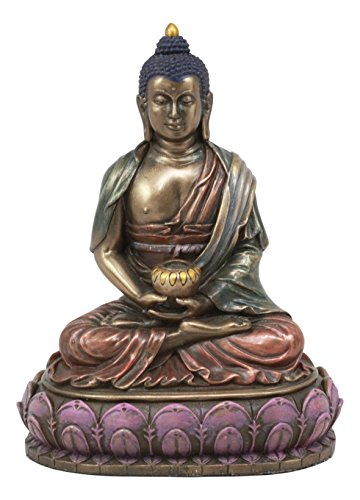 Ebros Eastern Enlightenment Meditating Buddha Shakyamuni On Lotus Throne Altar Statue 6 Tall Tibetan Buddhism Amitabha Figurine