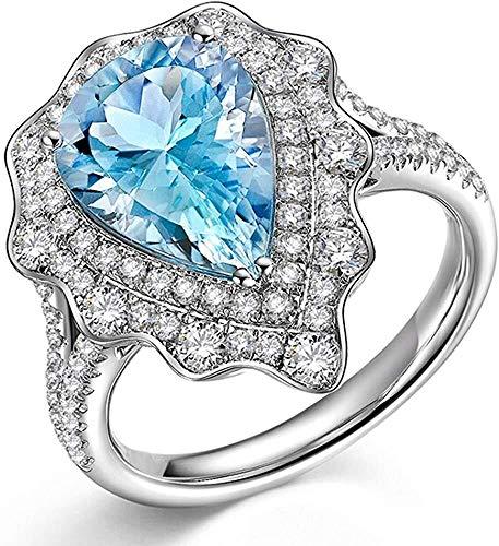 ketting Ijs Zee Blauw Aquamarijn Edelsteen Scherpe Diamant 14K Wit Effen Goud Bruiloft Dating Party Ring Set voor Vrouwen, Ring Grootte: H 1/2
