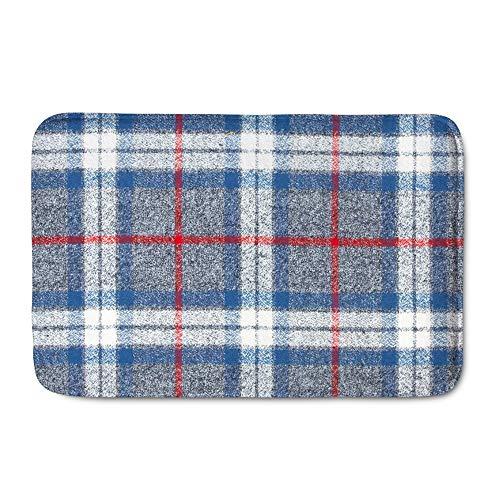 Amzbeauty Felpudo de bienvenida a cuadros, azul, blanco, gris, a rayas, 23.6 x 15.7 pulgadas, para interiores y exteriores, alfombra para entrada, dormitorio, baño, cocina
