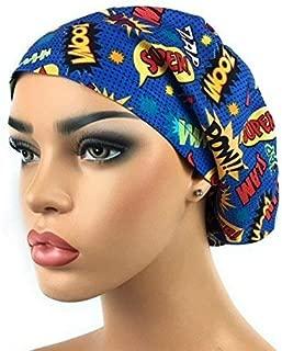 Women's Adjustable Bouffant Scrub Hat Ponytail Surgical Cap Comic Super Hero Words
