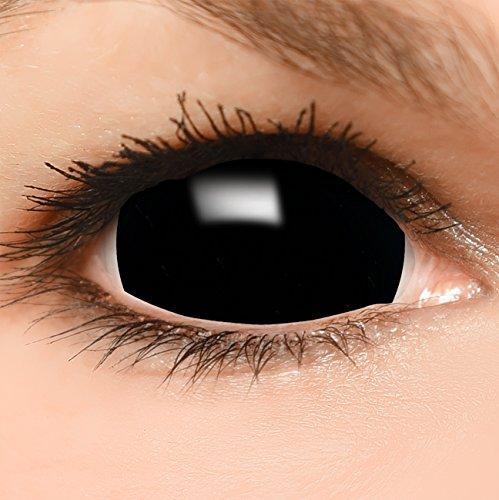 Black Sclera Kontaktlinsen in schwarz, weich ohne Stärke, 2er Pack - Top-Markenqualität, farbige angenehm zu tragen und perfekt zu Halloween oder Karneval