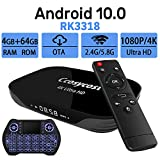 Android TV Box 10.0 4GB RAM 64GB ROM Set Top Box Smart TV Box RK3318 USB 3.0 1080P Ultra HD 4K HDR Dual Band WiFi 2.4GHz 5.8GHz BT 4.1 Streaming Media Player with Mini Wireless Backlit Keyboard