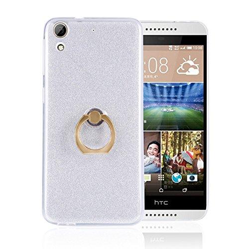 pinlu® Etui Schutzhülle Für HTC Desire 626G Soft Silikon TPU Ultra Thin Protective Cover Glitzer Rück mit Abnehmbarer Boden Skin und Ring-Schnalle Design Weiß