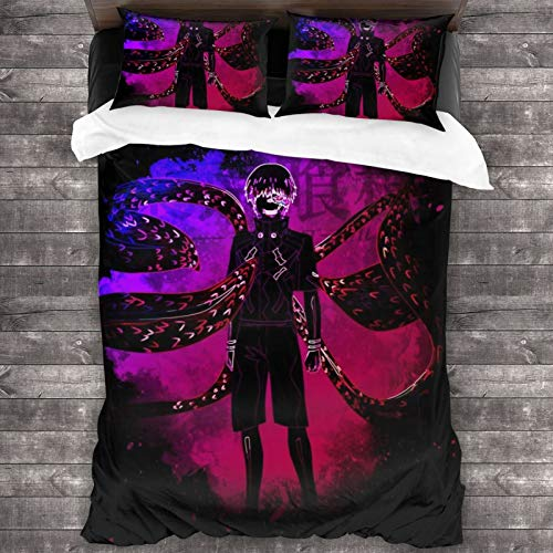 ESCFLAG Anime Tokyo Ghoul Three-piece Luxurious And Comfortable Bedding Soft Microfiber One Quilt Cover 86 X 70 In + Two Pillowcases 20 X 30 In