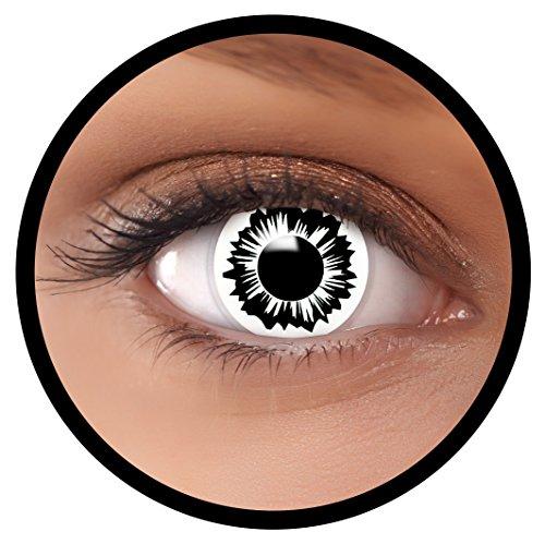 FXEYEZ® Farbige Kontaktlinsen weiß Splitter + Linsenbehälter, weich, ohne Stärke als 2er Pack - angenehm zu tragen und perfekt zu Halloween, Karneval, Fasching oder Fasnacht