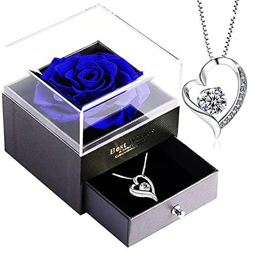 Infinity Rosen-SWEETIME Blaue Rosen Geschenkbox mit 925er Sterling Silber Damen Halskette,Für Immer Rose mitkette Damen Silber 925,Rose Box für Sie am Valentinstag,Weihnachten,Hochzeitstag,Geburtstag.