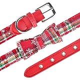 fafagogo2216gogo Collare di Cane di Natale Collare per Cane Natalizio Regolabile Piccolo Colletto per Cuccioli Medio Boy Girl Pelle, Rosso, XS 20-27Cm