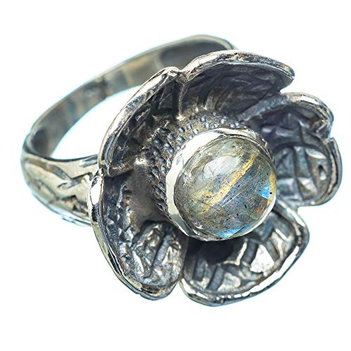 Ana Silver Co Large Labradorite Ring Size O 1/2 (925 Sterling Silver)