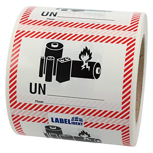 Labelident Transportaufkleber - enthält Lithium Ionen oder Metall Batterien UN & Telefonnummer zum Selbstbeschriften - 100 x 70 mm - 500 Batterie Aufkleber auf 76 mm (3 Zoll) Rolle, Akku Etiketten