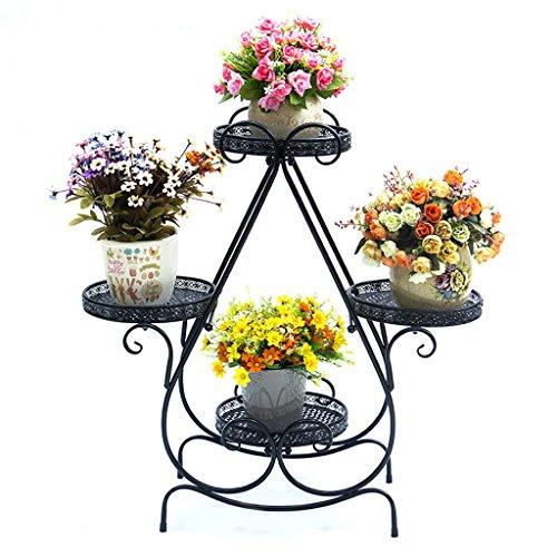 Stand de Fleur/Plante Stand de métal Floral Stand de Stockage de Jardin intérieur/extérieur (Noir)