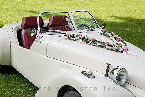 Autoschmuck Hochzeit rosa weiß AU0004