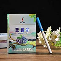 茶タバコ、禁煙グッズ、中国茶 健康茶タバコ、ローズ茶 牡丹茶 ジャスミン茶 ロンジン茶 緑茶 ニコチン0% 茶煙 (ブルーベリー茶,1パック)