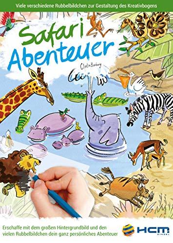 HCM Kinzel 47112 Malbuch Safari Abenteuer Rubbelbildchen, Bunt