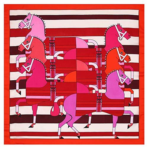 DFHTR 53 * 53Cm Moda Mujer Pañuelos Cuadrados Caballo A Rayas Seda Satén Bufanda Bandana Diadema Corbata Pañuelo para El Cuello