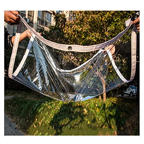 JIANFEI Transparente Plane Abdeckplane, 400g/m² PVC Wetterfest Abdeckung Mit Tülle Zum Draussen Terrasse Balkon UV Sonne Regen Schnee Schutz, Anpassbar (Color : Klar, Size :...