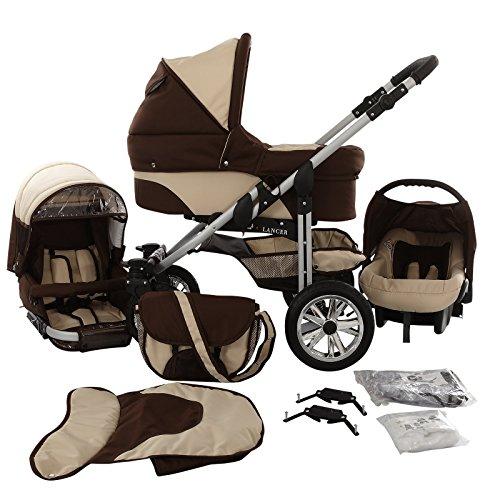 Chilly Kids Matrix Lancer Kinderwagen Safety-Set (Autositz & ISOFIX Basis, Regenschutz, Moskitonetz, Schwenkräder) 05 Schoko & Creme