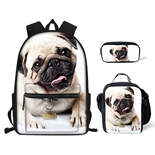 BIGCARJOB Pug Print Backpack Sets Primary Schoolbag Travel Daypack Shoulder Bag Pencil Case 3pcs
