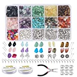 Irregulares Piedras Colores, Manualidades Adultos Kits Abalorios, Cuentas de Chips Naturales, con Alambre de Cristal Blanco, para Joyería de Bricolaje Collar Pulsera Pendiente Kit Suministros Hacer