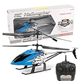 KELEQI Large Aircraft Remote Control Helicopter, with 3.5GHZ Channel Alloy Gyro Stabilizer and Multi-Protection Drone RC Helicopter Toy-Blue for Kids and Adults