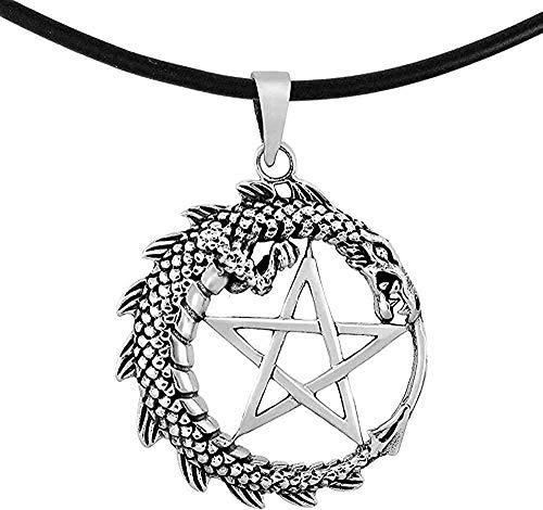 DUEJJH Co.,ltd Collar Dragón Místico Y Estrella De Pentáculo Redonda En .925 sobre Collar De Cordón De Goma