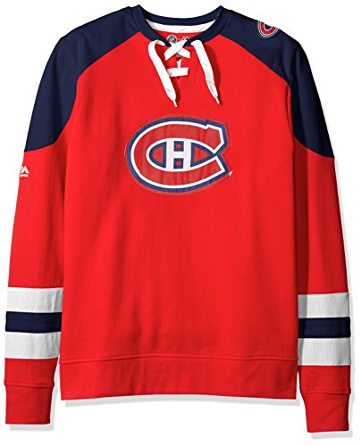VF LSG Pull à manches longues et col rond pour homme, Homme, Nhl Centre Program Long Sleeve Lace Up Crew Neck Pullover, Rouge/bleu marine/blanc., Small