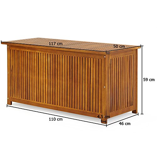 Gartentruhe Auflagenbox mit Innenplane Akazienholz 117cm - 7