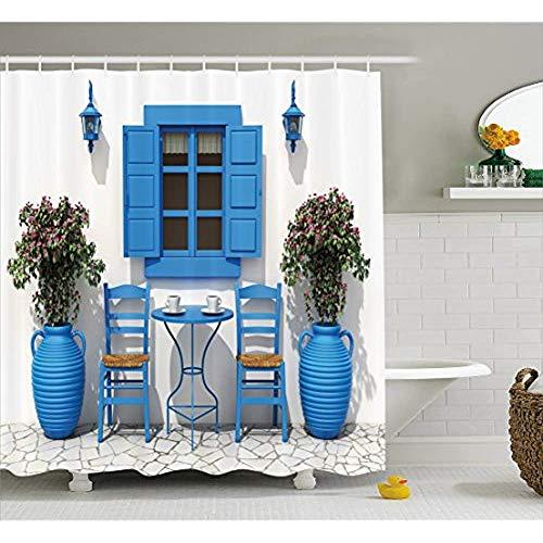 Yeuss Reise Dekor Duschvorhang, traditionelles griechisches Design Urlaub Sommerhaus Blumen Fensterbild, Stoff Badezimmer Dekor Set mit Haken, Marineblau & Weiß