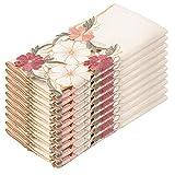 Tayis Servilletas de Tela Juego de 10 Servilletas de Mesa 40x40 cm Bordado Floral Lavable Reutilizable para Cocina y Mesa de Comedor