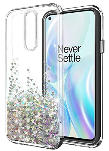 SunStory OnePlus 8 Case,1+8 Case,OnePlus 8 Case Glitter Clear with Moving Shiny Quicksand Glitter and Double Protection with PC Layer and TPU Bumper Case for OnePlus 8 Phone (Silver)