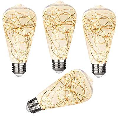 4 Pcs Premium iSoptox LED Decorative Bulbs, Waterproof LED Fairy Light Bulbs, 2W, ST64 Edison Vintage Bulb with Starry String Lights for Bathroom, Bedroom, Living Room, Christmas, E26 Base, Warm White