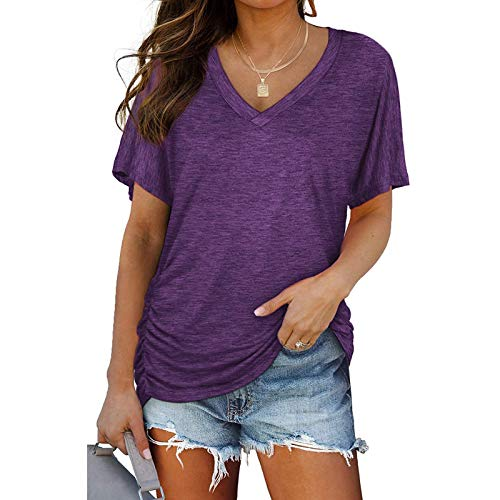 MAZHANG Basics Damen oberteileosterdeko für draußenpetstshirts Damen sommerdamen Oberteile Grosse grössen Sommer(A Purple M)