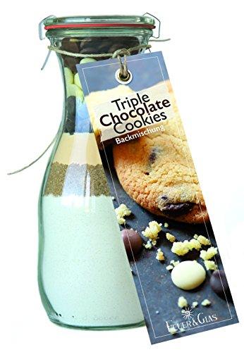 Backmischung im Glas für Triple Chocolate Cookies – Raffinierte Geschenkidee für Backfreunde – Gourmet Backzutaten im Weckglas für Triple-Schokoladen-Kekse – Dreifacher Schoko-Genuss von Feuer & Glas