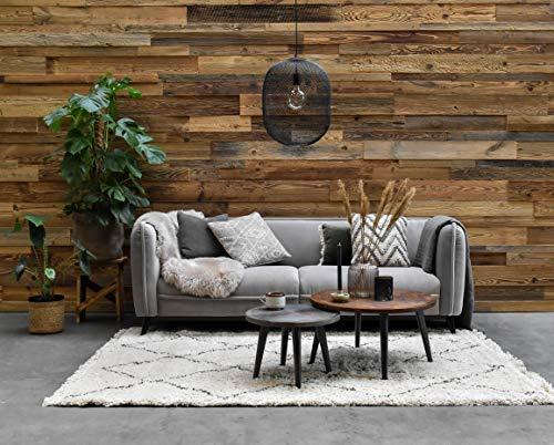 Barnwood Revêtement mural en bois vieilli apparence 3D 0,8 m²