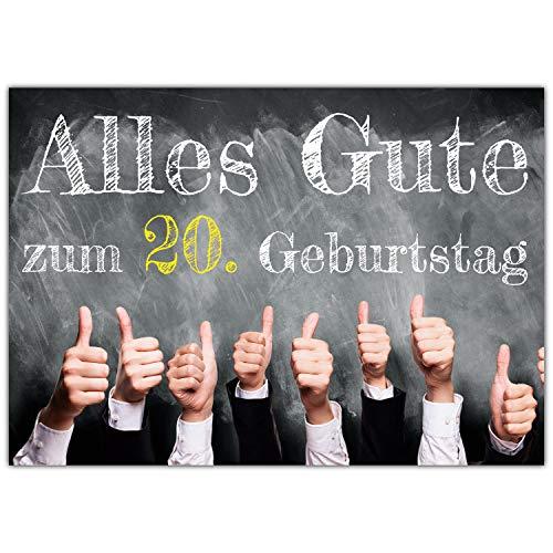 A4 XXL 20 Geburtstag Karte DAUMEN HOCH mit Umschlag - edle Geburtstagskarte - Glückwunschkarte zum 20. Geburtstag für Frau & Mann von BREITENWERK