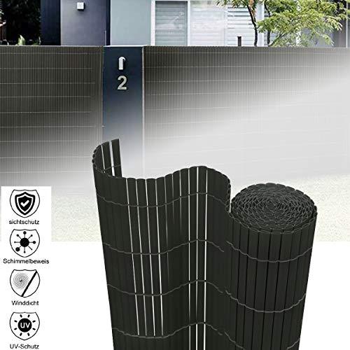 Aufun Sichtschutzmatte PVC 160x1000cm - Sichtschutzzaun Bambus Windschutz fur Garten Balkon und Terrasse (160x1000cm,Anthrazit)