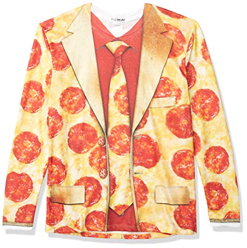 Faux Real unisex adult 3d Photo-realistic Long Sleeve Suit T-shirt T Shirt, Pizza Suit, Medium US