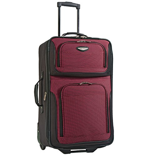 Travel Select Amsterdam Expandable Rolling Upright Luggage, Burgundy, Checked-Medium 25-Inch