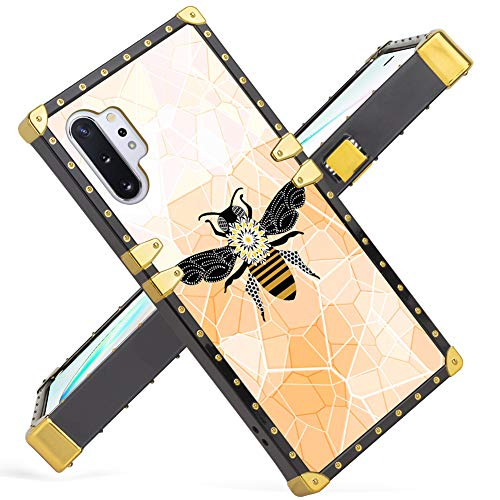Samsung Galaxy Note 10 Plus Case Note 10+ 5G 2019 Release Luxury Beautiful Bee Square Soft TPU Wrapped Edges and Hard PC Back Stylish Classic Retro Cover