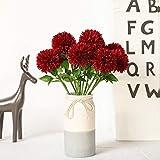 JUSTOYOU Soie Artificielle Fausses Fleurs Pissenlit Hortensia Bouquet Floral pour Mariage, fête d'anniversaire, décoration de la Maison(Rouge,10pcs)