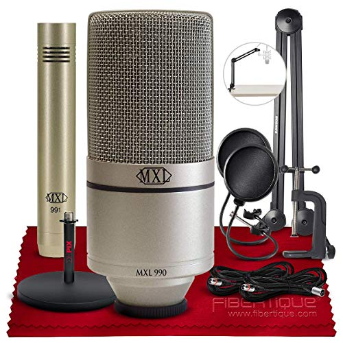 MXL 990/991 Condenser Microphone Recording Package + Microphone Boom Arm, Xpix Desktop Stand, Xpix Pop Screen Filter, Cables, and Fibertique Microfiber Cleaning Cloth