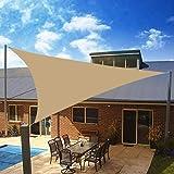 Yeahmart Voile d'ombrage imperméable pour jardin, terrasse, fête, écran solaire 3 x 3 x 3 m Auvent triangulaire 98% UV avec corde gratuite (Sable)