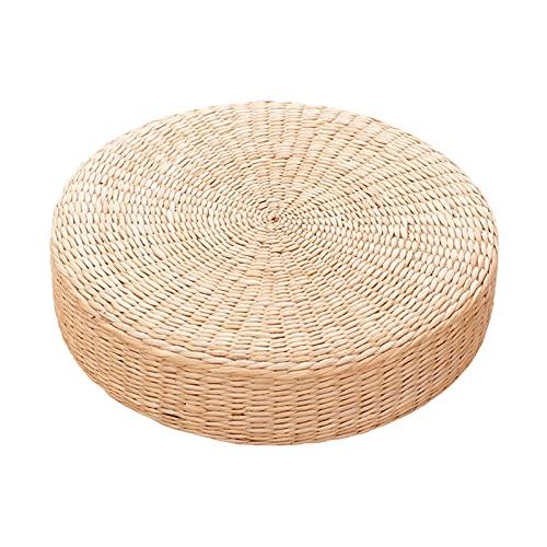 H HILABEE Tapis de Siège de Méditation de Pouf de Sol de Coussin de Tatami Tissé par Paille Ronde - 50x50cm