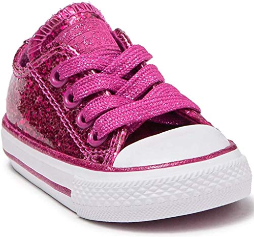 Converse Chuck Taylor All Star Glitter Sneaker (Baby & Toddler) Fuchsia RED (Numeric_6)