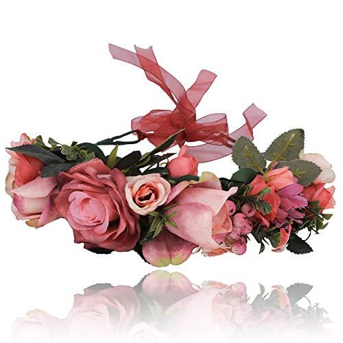 AWAYTR Boho Blumenkrone Stirnband Festival Kopfschmuck - Handgefertigt Blume Haarkranz mit Band Beere Blumenstirnband für Frauen und Mädchen Kleid (Dunkelrot)