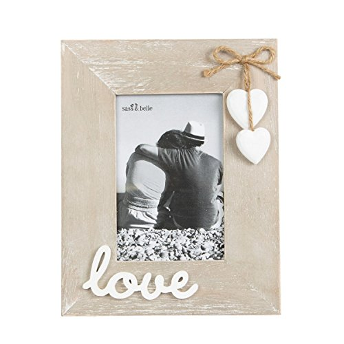 Sass & Belle–Marco para Fotos (Madera Natural Blanco Love con corazón Colgante 19x 24cm