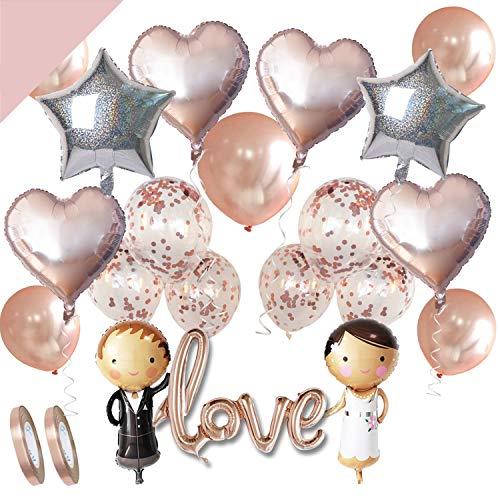 LumeeStar Hochzeits-Deko Set Rosegold Love Folienballon Herzballon Konfettiballons Braut Bräutigam für Heiratsantrag Standesamt Verlobung Hochzeitsgeschenk