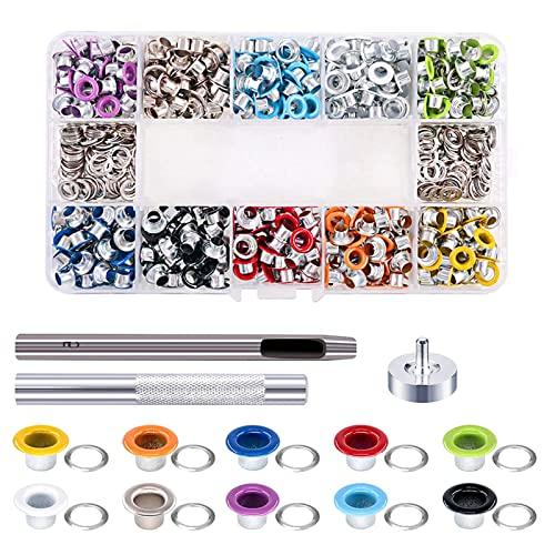 kpysit Kit de ojales, Ojal de metal, ojales de metal en caja de 500 piezas + 3 herramientas de instalación, puede hacer ojales de tela, tela, cuero y bricolaje impermeables