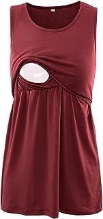 BBHoping Women's 2 Layers Comfy Maternity Nursing Tank Tops Sleeveless & Long Sleeve Breastfeeding Clothes