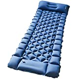 Camping Air Sleeping Pad Mat - Foot Press Inflatable Lightweight Backpacking Pad for Hiking Traveling, Durable Waterproof Air...
