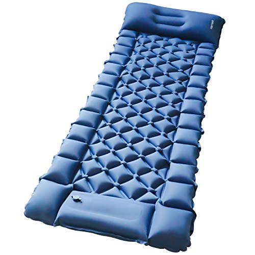 Camping Air Sleeping Pad Mat - Foot Press Inflatable Lightweight Backpacking Pad for Hiking Traveling, Durable Waterproof Air Mattress Compact Hiking Pad